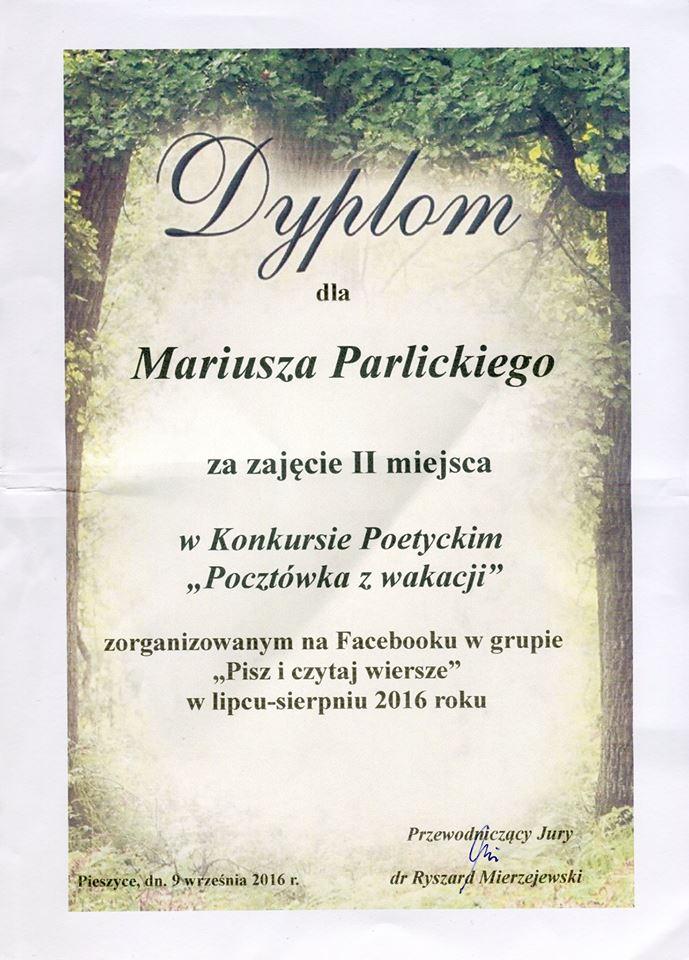 Nagroda Dla M Parlickiego W Konkursie Poetyckim Pocztówka